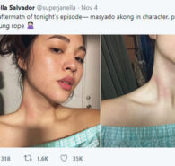 "Janella Salvador uploaded a photo of her on Twitter which showed the rope marks that she sustained after being ""masyadong in-character"" for the rope-strangling scene of The Killer Bride aired on TV last November 4. Janella's post received positive tweets and reactions from fans of […]"
